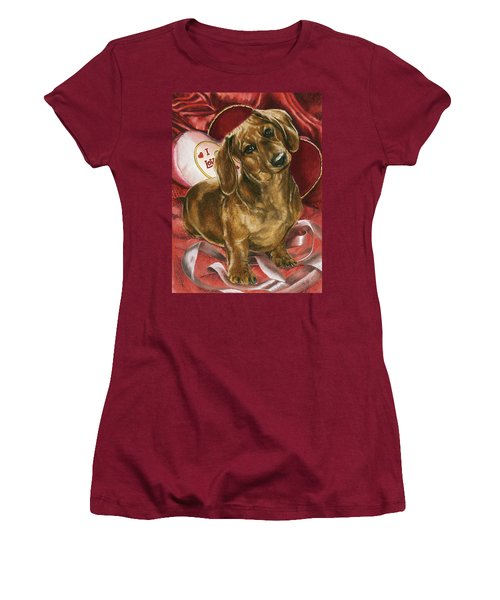 Women's T-Shirt (Junior Cut) featuring the mixed media Please Be Mine by Barbara Keith