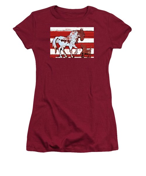 Women's T-Shirt (Junior Cut) featuring the photograph Pony And Pup by Larry Campbell