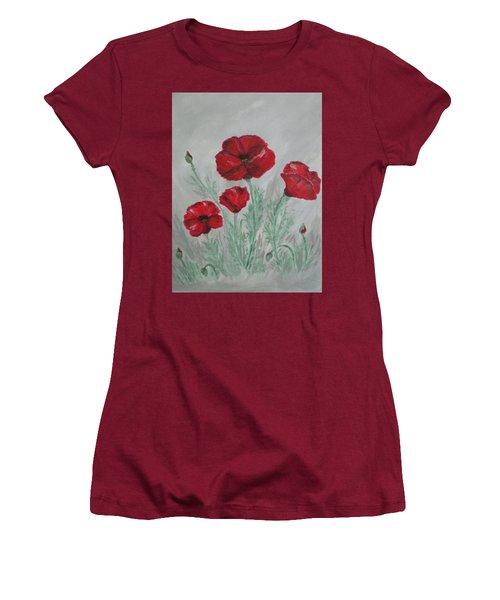Poppies In The Mist Women's T-Shirt (Junior Cut)