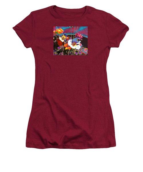 Poppy Abstract 3 Women's T-Shirt (Junior Cut) by M Diane Bonaparte