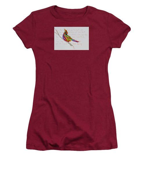 Proud Cardinal With Blessing Women's T-Shirt (Junior Cut) by Beverley Harper Tinsley
