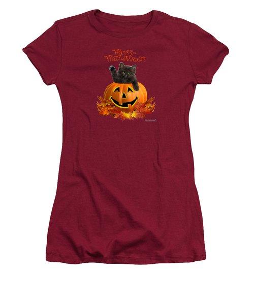 Pumpkin Kitty Women's T-Shirt (Junior Cut) by Glenn Holbrook