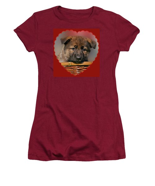 Women's T-Shirt (Junior Cut) featuring the photograph Puppy In Red Heart by Sandy Keeton