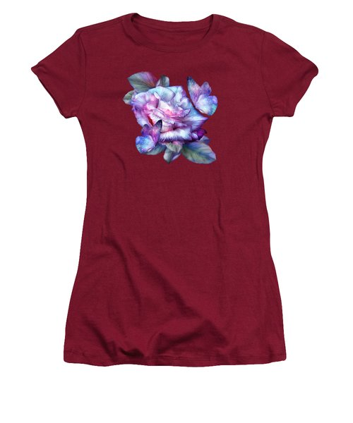 Women's T-Shirt (Junior Cut) featuring the mixed media Purple Rose And Butterflies by Carol Cavalaris