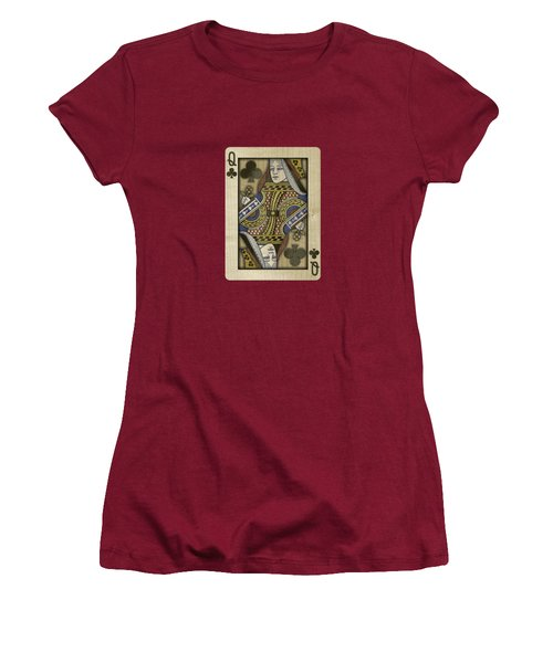Queen Of Clubs In Wood Women's T-Shirt (Junior Cut) by YoPedro