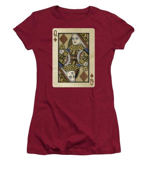 Queen Of Diamonds In Wood Women's T-Shirt (Junior Cut) by YoPedro
