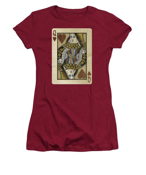 Queen Of Hearts In Wood Women's T-Shirt (Junior Cut) by YoPedro