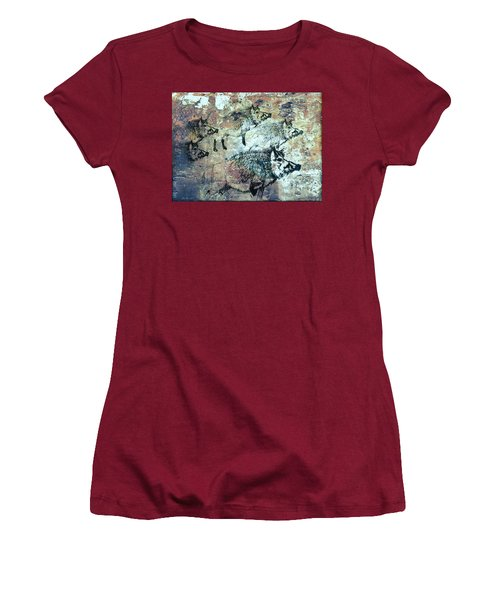 Women's T-Shirt (Junior Cut) featuring the photograph Wild Boars by Larry Campbell