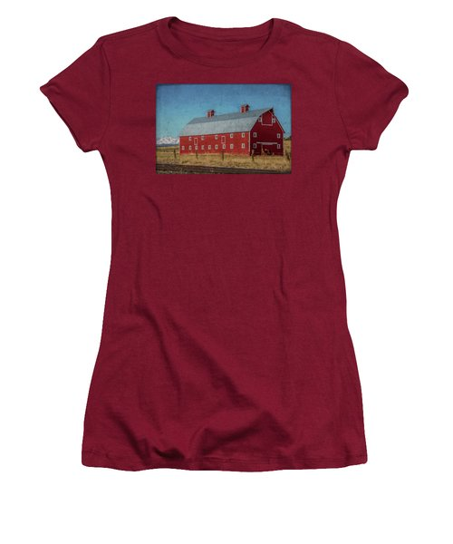Red Barn By The Railroad Tracks Women's T-Shirt (Athletic Fit)