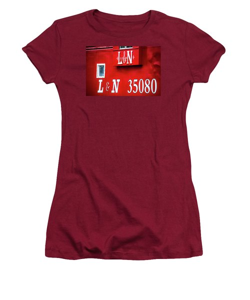Women's T-Shirt (Junior Cut) featuring the photograph Red Caboose by Parker Cunningham