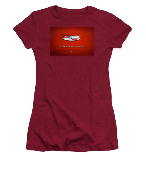 Women's T-Shirt (Junior Cut) featuring the photograph Red Chevy Bel-air Trunk by Marilyn Hunt