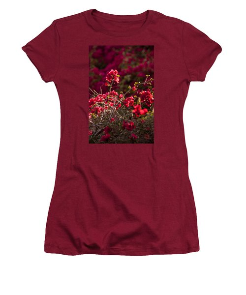 Women's T-Shirt (Junior Cut) featuring the photograph Red Flowering Quince Schrub by Daniel Hebard