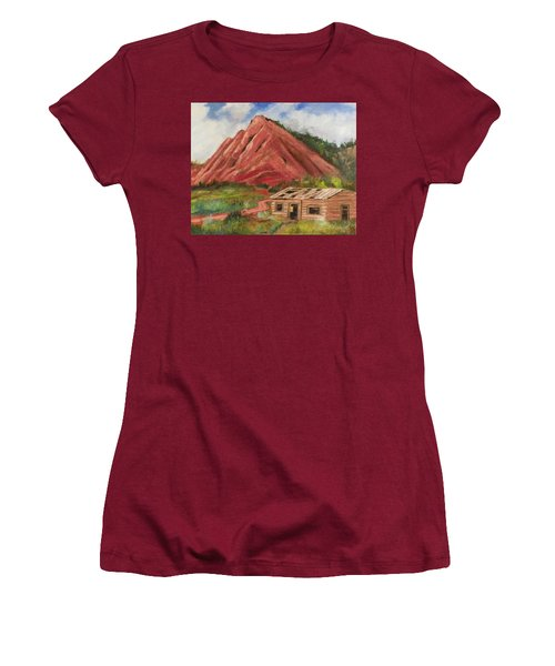 Red Hill And Cabin Women's T-Shirt (Junior Cut) by Sherril Porter