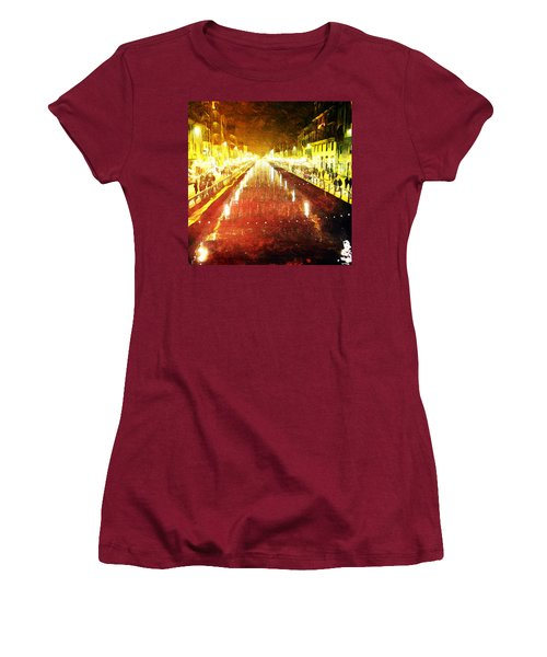 Red Naviglio Women's T-Shirt (Junior Cut) by Andrea Barbieri