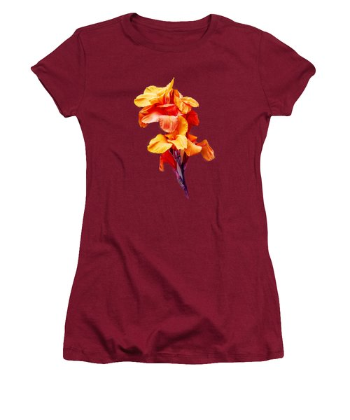 Red Orange Canna Blossom Cutout Women's T-Shirt (Junior Cut) by Linda Phelps
