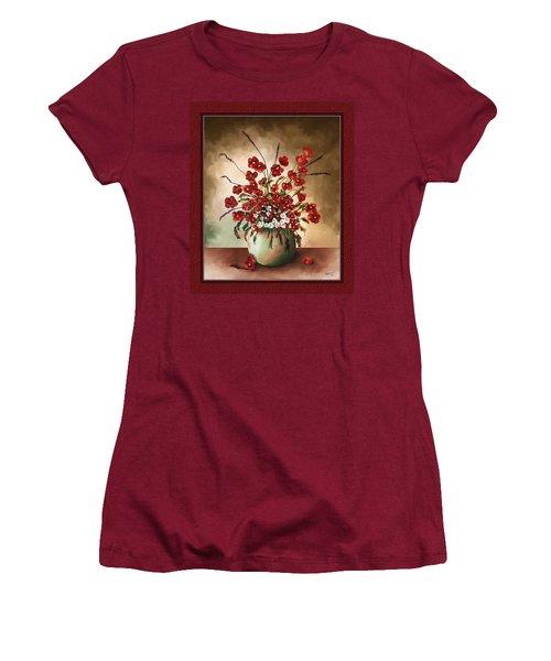 Women's T-Shirt (Junior Cut) featuring the digital art Red Poppies by Susan Kinney