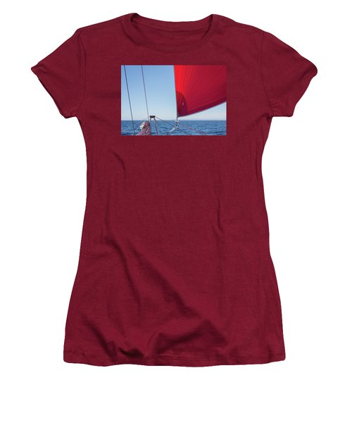 Women's T-Shirt (Athletic Fit) featuring the photograph Red Sail On A Catamaran by Clare Bambers