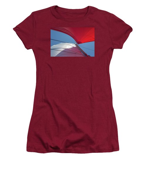 Women's T-Shirt (Athletic Fit) featuring the photograph Red Sail On A Catamaran 3 by Clare Bambers