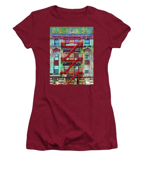Women's T-Shirt (Junior Cut) featuring the mixed media Red by Tony Rubino