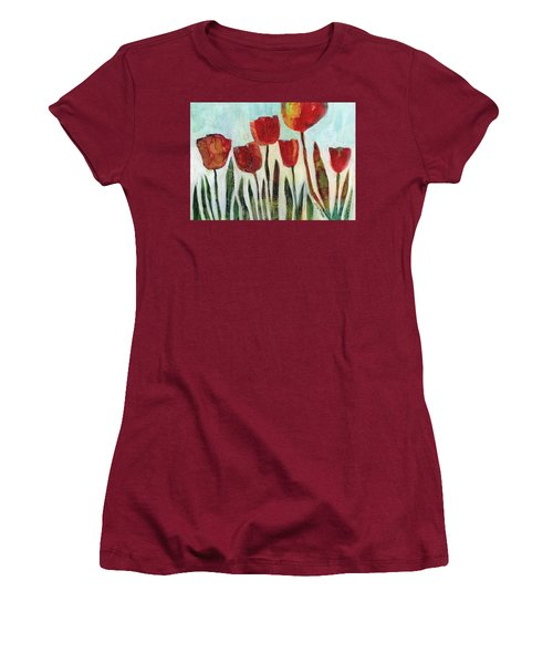 Red Tulips Women's T-Shirt (Athletic Fit)