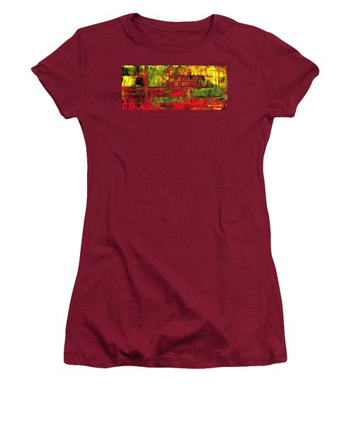 Summer Rain  - Abstract Colorful Mixed Media Painting Women's T-Shirt (Athletic Fit)
