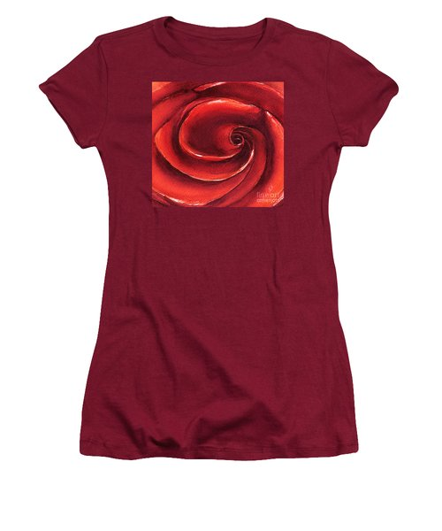Women's T-Shirt (Junior Cut) featuring the painting Rose In Stone by Allison Ashton