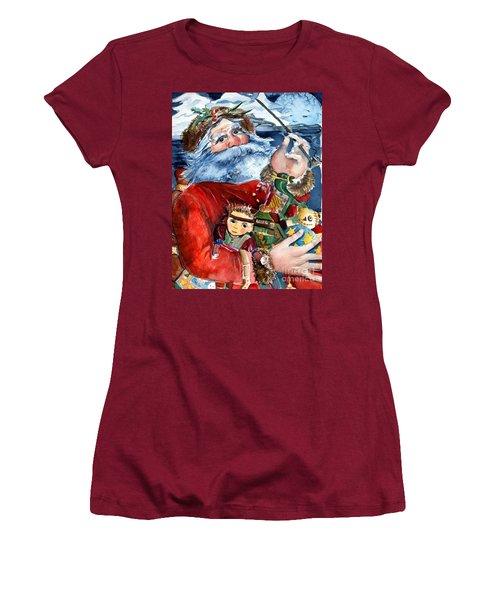 Santa Women's T-Shirt (Junior Cut) by Mindy Newman