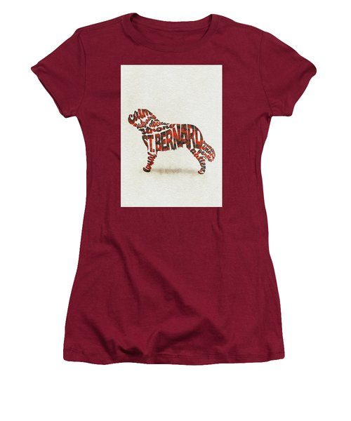 Women's T-Shirt (Athletic Fit) featuring the painting St. Bernard Dog Watercolor Painting / Typographic Art by Ayse and Deniz