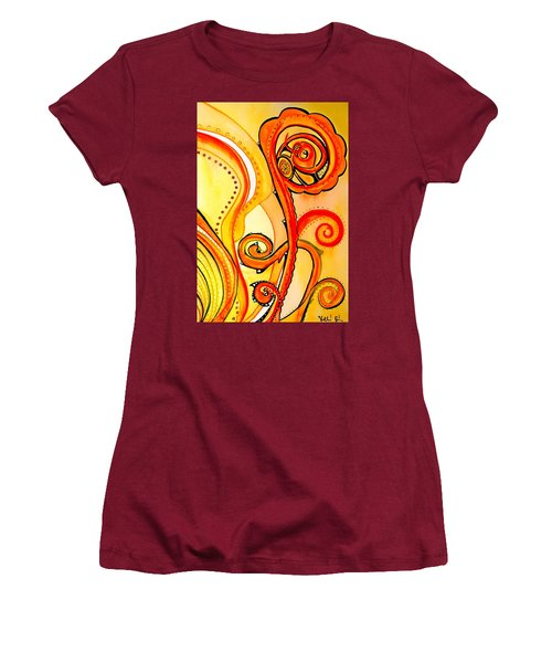 Women's T-Shirt (Junior Cut) featuring the painting Sunny Flower - Art By Dora Hathazi Mendes by Dora Hathazi Mendes