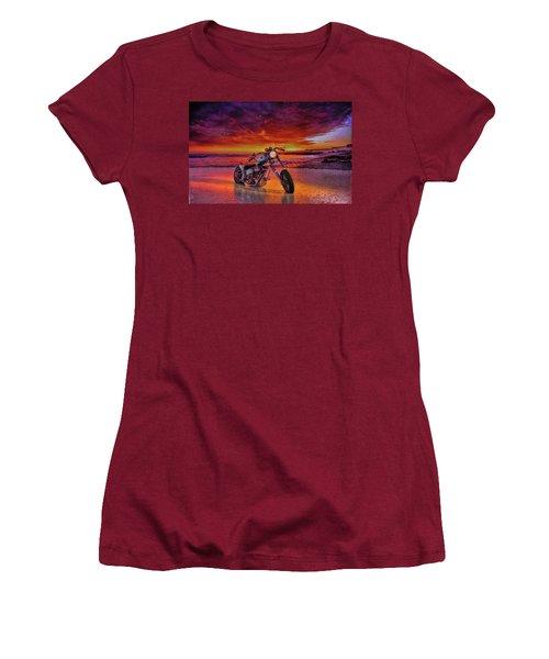 Women's T-Shirt (Junior Cut) featuring the photograph sunset Custom Chopper by Louis Ferreira