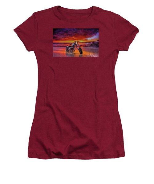 sunset Custom Chopper Women's T-Shirt (Athletic Fit)