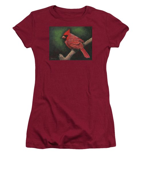Women's T-Shirt (Junior Cut) featuring the painting Textured Cardinal by Janet King