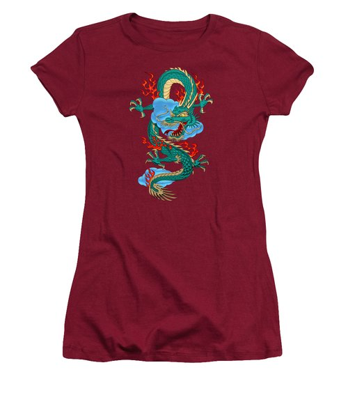 The Great Dragon Spirits - Turquoise Dragon On Red Silk Women's T-Shirt (Junior Cut) by Serge Averbukh