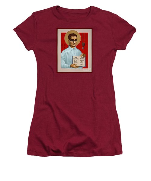 Women's T-Shirt (Athletic Fit) featuring the painting The Servant Of God Egide Van Broeckhoven Sj 051 by William Hart McNichols