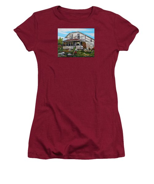 Women's T-Shirt (Junior Cut) featuring the painting This Old House 2 by Marilyn  McNish