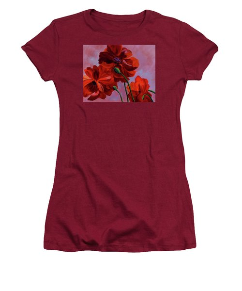 Three Oriental Poppies Women's T-Shirt (Athletic Fit)