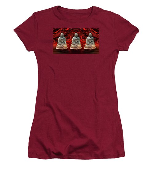 Women's T-Shirt (Athletic Fit) featuring the photograph Three Smiling Buddha by John Williams