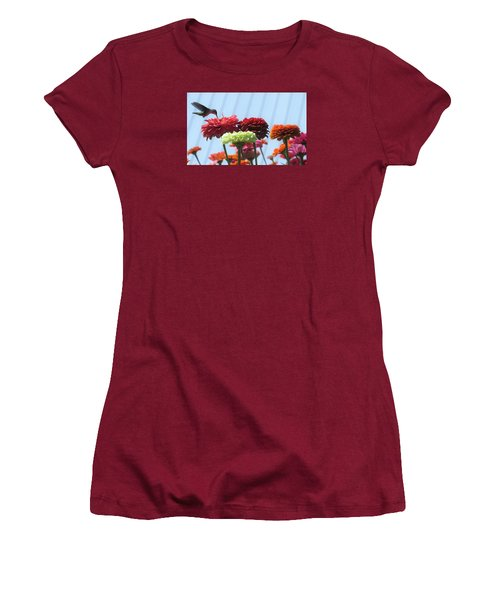 Women's T-Shirt (Junior Cut) featuring the photograph Thristy Hummer by Jeanette Oberholtzer