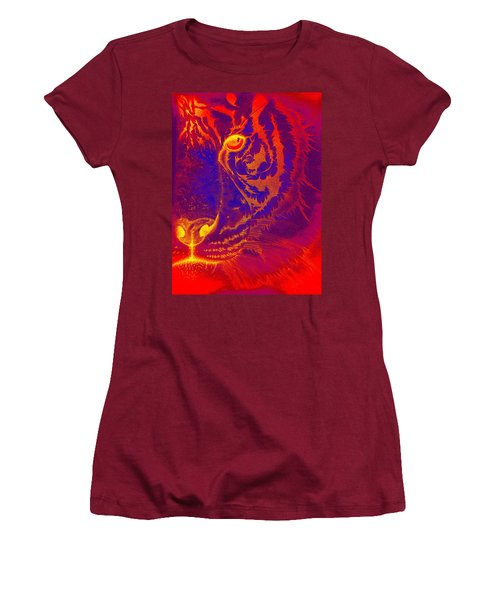 Tiger On Fire Women's T-Shirt (Athletic Fit)