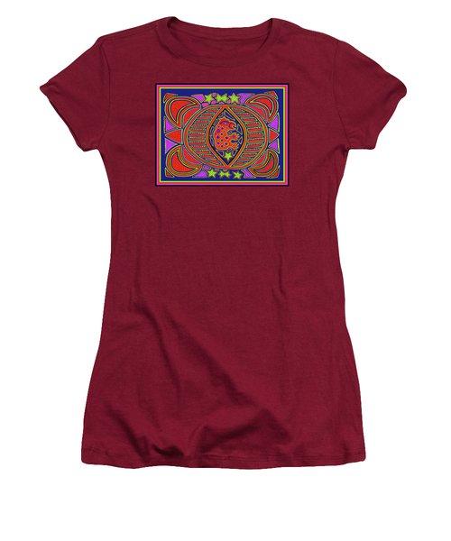 Women's T-Shirt (Athletic Fit) featuring the digital art Tortuga Shaman Spirits by Vagabond Folk Art - Virginia Vivier