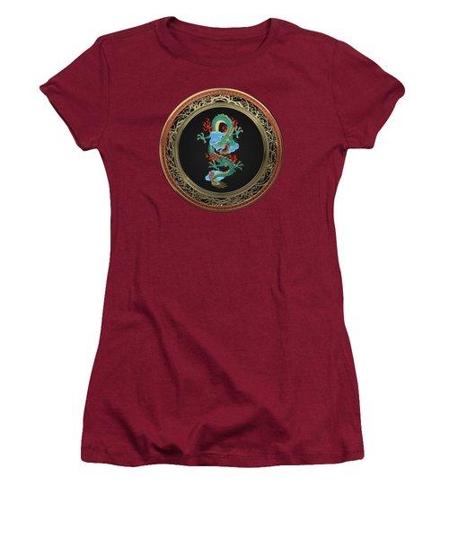 Treasure Trove - Turquoise Dragon Over Red Velvet Women's T-Shirt (Junior Cut) by Serge Averbukh