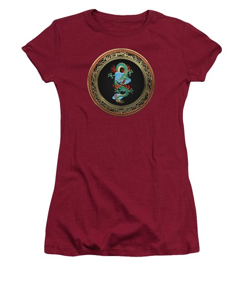 Treasure Trove - Turquoise Dragon Over Red Velvet Women's T-Shirt (Athletic Fit)