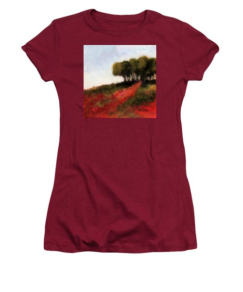 Women's T-Shirt (Junior Cut) featuring the painting Trees On The Hill by Marti Green
