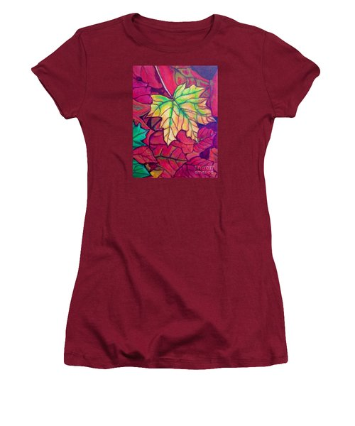 Women's T-Shirt (Junior Cut) featuring the painting Turning Maple Leaf In The Fall by Kimberlee Baxter