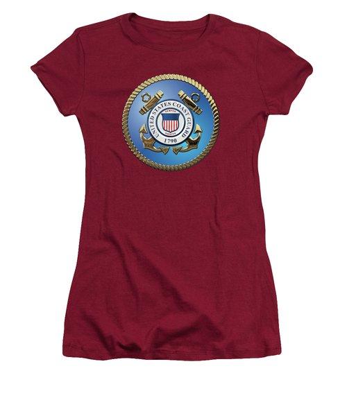 U. S. Coast Guard - U S C G Emblem Women's T-Shirt (Athletic Fit)