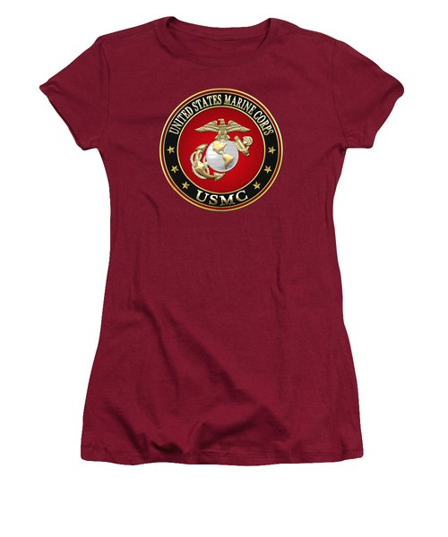 U S M C Eagle Globe And Anchor - E G A On Red Velvet Women's T-Shirt (Junior Cut) by Serge Averbukh