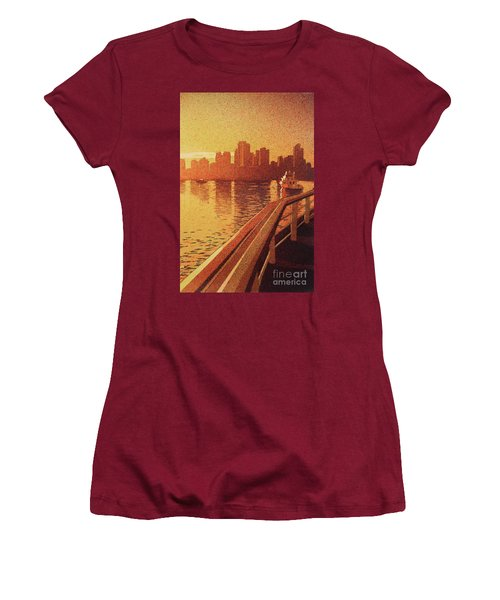 Women's T-Shirt (Junior Cut) featuring the painting Vancouver Morning- Bc by Ryan Fox