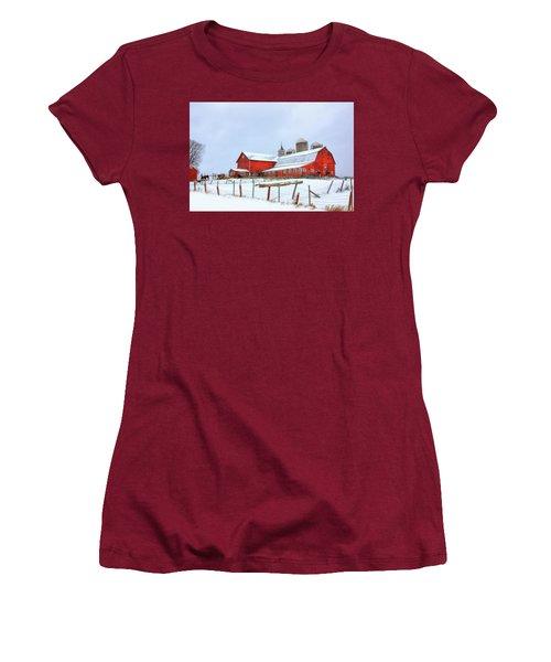 Vermont Barn Women's T-Shirt (Junior Cut) by Sharon Batdorf