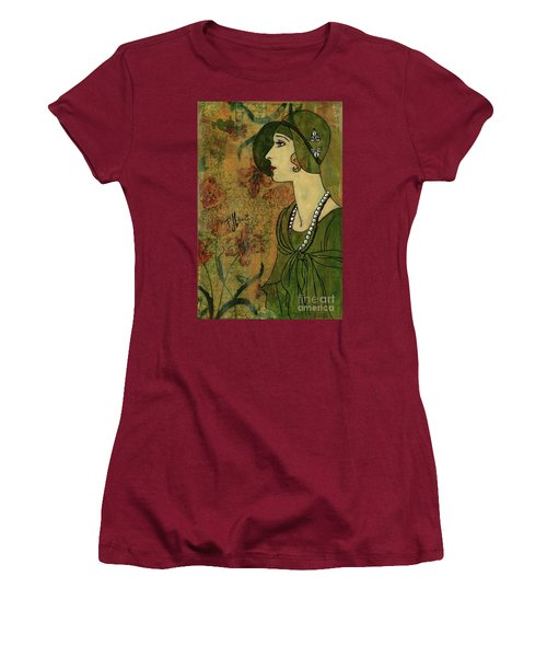 Women's T-Shirt (Junior Cut) featuring the painting Vogue Twenties by P J Lewis