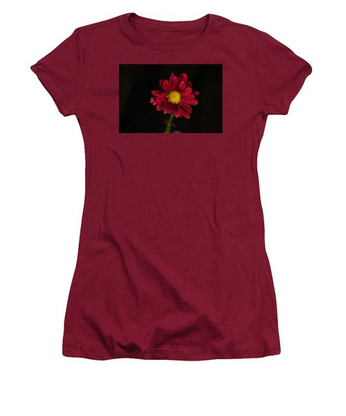 Women's T-Shirt (Junior Cut) featuring the photograph Water Drops On A Flower by Jeff Swan